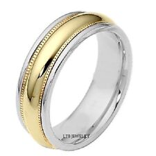 MENS 10K TWO TONE GOLD WEDDING BANDS,MILGRAIN 7MM SHINY SOLID GOLD WEDDING RINGS