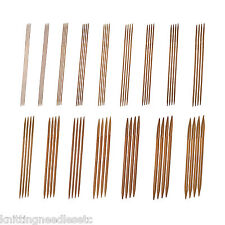"""Double Point Knitting Needles Bamboo 8"""" (~20 cm) Carbonized- Complete Set-Knitzy"""