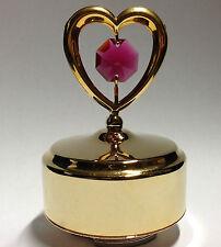 musikbox Amor STORY Rojo Corazón Swarowski CRISTALES equipado chapado en oro