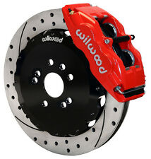 """WILWOOD DISC BRAKE KIT,FRONT,FITS 89-98 NISSAN 240SX,13"""" DRILLED,RED CALIPERS"""