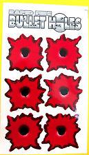 Aufkleber Sticker - BULLET HOLES RAPID FIRE Einschusslöcher rot Auto Helm  #206