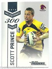 2014 NRL ESP TRADERS MILESTONE M1 Scott Prince Brisbane BRONCOS CARD