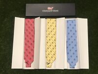 Vineyard Vines Collegiate Stripe Silk Neck Tie Palm Tree Golf Pink Yellow Blue