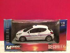 MONDO MOTORS SUPERBE PEUGEOT 207 POLICE NEUF EN BOITE 1/43 S8