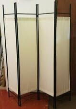 4-panel room divider separator panel wall movable partition folding screen cream