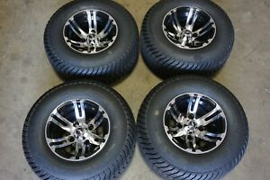"""10"""" 10x7 4x4"""" Golf Cart Black Mach. Wheels Rims 205/65-10 20.5""""x8""""-10 Tires"""
