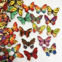 50Pcs Mixed Bulk 2 Holes Butterfly Wooden Sewing Buttons Scrapbooking Prac Top