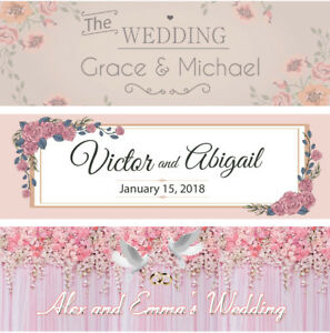 2 Personalised wedding engagement banner party decoration poster just married.