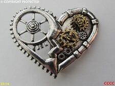 new steampunk brooch badge pin silver heart bronze gearwheel cog mechanical