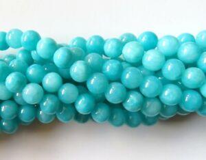 50pcs 8mm Round Gemstone Beads - Malaysian Jade - Opaque Aqua
