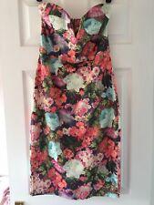 Asos Strapless Plunge Bodycon Floral Midi Dress Size 10
