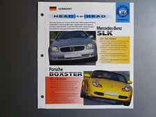 "Mercedes SLK vs Porsche Boxster ""Head to Head"" IMP ""Hot Cars"" Spec Sheet Folder"