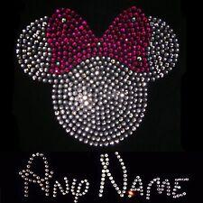 Custom Any One Name & Pink Minnie Mouse Crystal Iron On Transfer Set Rhinestone