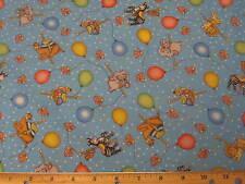 Bazoople Carousel Balloon Ride Baby Fabric BTY by yard 36x44 blue elephant