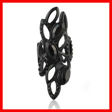 Crystal Rhinestone Black Long Full Finger Knuckle Celebrity Fashion Ring Size 8