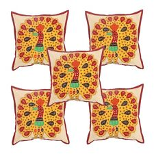 Indian Vintage Cotton Pillow Case Peacock Cushion Cover Sofa Bed Decor 5 Pcs Set