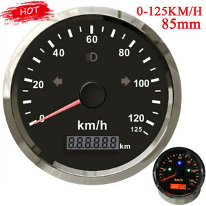 85mm Boat GPS Speedometer Gauge 0-125Km/h Odometer Adjustable Red LED Universal