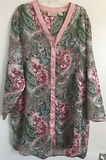 Victoria's Secret Vintage Pink Paisley Satin Nightdress/Shirt Lingerie Small