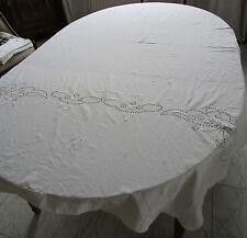 Tagesdecke Tischdecke Antik 40 J  bestickt naturweiß 220x140 cm mit Monogramm MW
