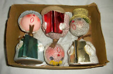 Vintage Christmas Candy Containers Bobble Head Nodders Set of 3 Original Box A+