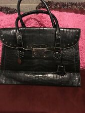 Authentic DOONEY & BOURKE Dark Navy crocodile leather handbag satchel large