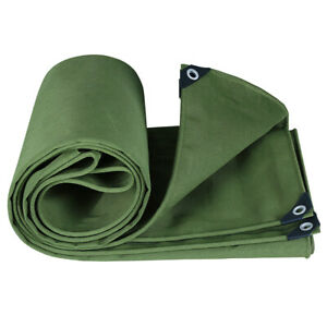 Canvas Tarp For Boat Outdoor Waterproof Cover Heavy Duty With Eyelets Hanging