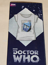 BBC Doctor Who Ladies Comic Grey Marle Printed Short Sleeve T Shirt Size S New