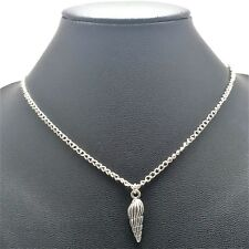 Shell Charm Conch Nautical Necklace Sterling Silver Plated Chain Link Women's
