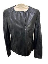 MARKS & SPENCER Black Faux Leather Size 12 Crinkle Effect Biker Style Jacket