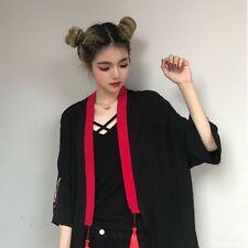 Japanese Kimono Shirt Women Fashion Blouse Yukata Black Red Waistbelt Drawstring