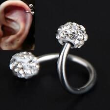 1PC Crystal Stainless Steel Twist Ear Helix Cartilage Body Piercing Earring