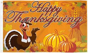 Happy Thanksgiving Flag 3x5ft Happy Turkey Thanksgiving Decor Cute Holiday Flag