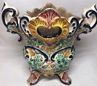Rare Vase Cache-pot MASSE FRÈRES DESVRES Décor Scarifié H 22 L 26,5 l 19,8 Cm
