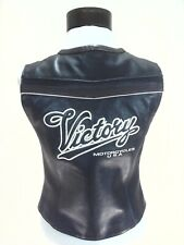 VICTORY Motorcycles USA Leather Vest Black Embroidered Biker VTG Womens S RARE *
