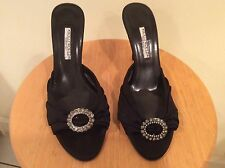 Hollywould black fabric peep toe high heels Slide Sandals rhinestone buckle 39.5