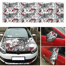50*150cm Car Body Cartoon Skull Graffiti Bomb Vinyl Sticker Wrap Sheet Roll Film