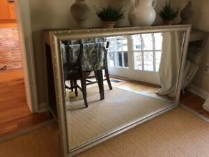 Mirror, beveled, large, carved silver frame, one small flaw (in photo)