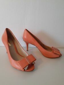 CLEARANCE* Louise et Cie Nadia Shoes peach leather heels bow Women's Size 8.5