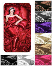 Silky Satin Stripe or Plain Fitted Flat Bed Sheets Pillow Cases or Duvet Sets