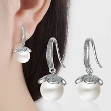 Ladies Sweet Elegant Solid 925 Sterling Silver Zircon Pearl Dangle Earrings