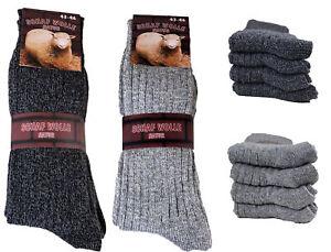 8 Paar Herren Norweger Socken Wollsocken /BW  schwarz meliert  grau meliert