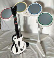 Harmonix Wii Rock Band Drum Set w Guitar Hero Guitar No pedal, sticks or dongle