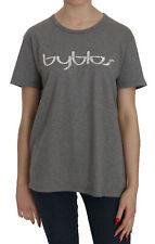 BYBLOS T-shirt Blouse Cotton Grey Short Sleeve Round Neck Top s. XL