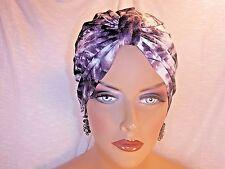 "Chemo Turban Grey and Purple Tie Dye ""Something4you"" Alopecia Hijab Free Ship"
