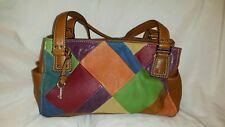 c307ac137c Fossil Leather Suede Satchel Shoulder Bag Multi-Color Patchwork Purse