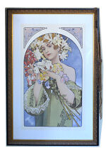 "Large Alphonse Mucha Lithograph Signed, Matted, Ornate Frame - 28 1/4"" x 41 1/4"""