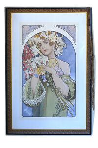 "Large Alphonse Mucha Lithograph Signed, Matted, Ornate Frame - 28 1/4"" x 41 1/4"""