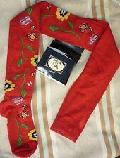 collant BONNIE DOON rouge fantaisie fleurs papillons coton chaud taille 3 L car