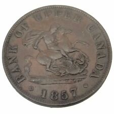1857 Bank of Upper Canada One 1 Half 1/2 Penny Token Copper Canadian Coin B531