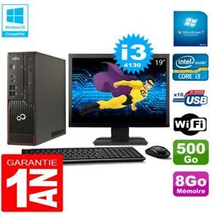 """PC Fujitsu Esprimo C720 SFF Core I3-4130 8Go Disque 500Go Wifi W7 Ecran 19"""""""